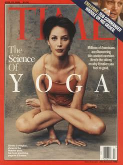 The model Christy Turlingoton in Kukkutasana on the cover of Time Magazine, April 23, 2001.