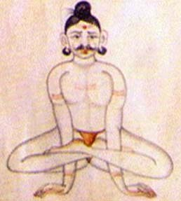 Kukkutasana from the illustrated yoga text called the Sritattvanidhi, c. 1840