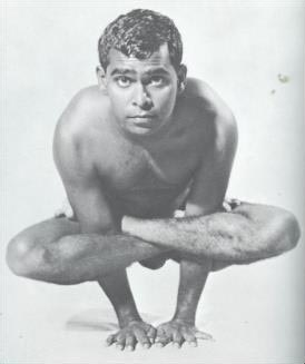 The sage, Vishnu Devananda in the pose from his book, The Complete Illustrated Book of Yoga, 1960.